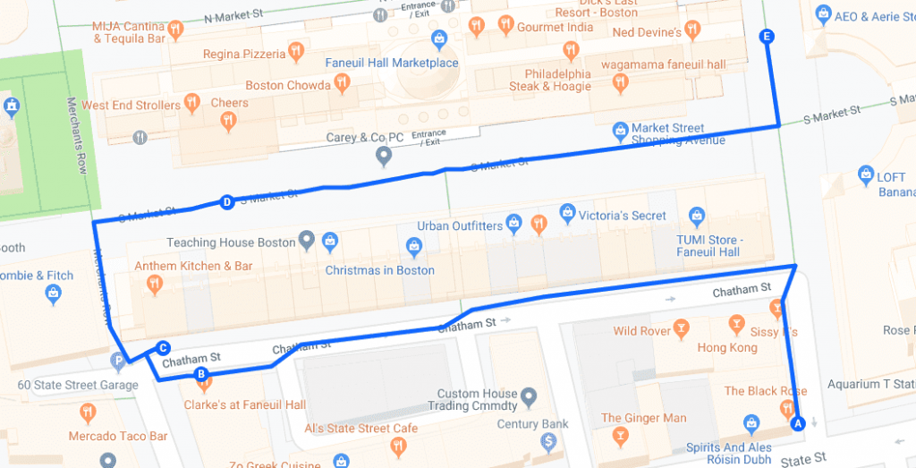 Boston Faneuil Hall Bar Crawl Map