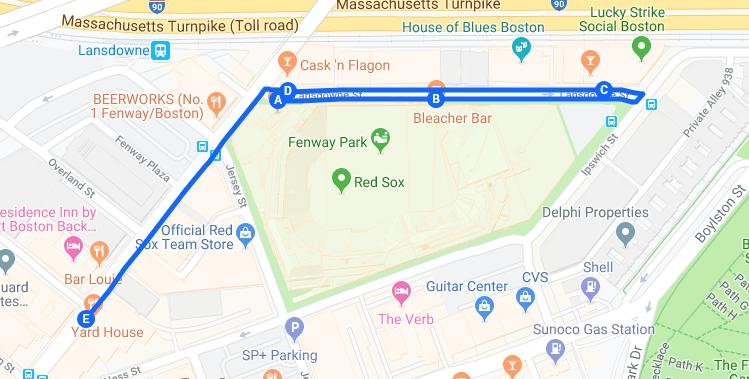 Fenway Park Bar Crawl Map