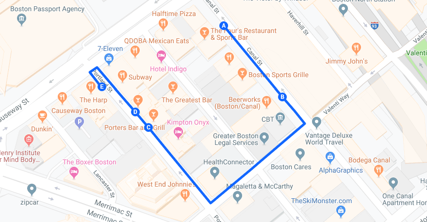 TD Garden Bar Crawl Map