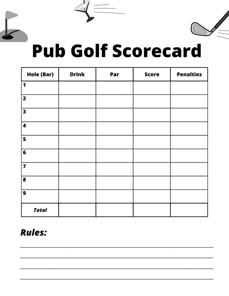 Pub Golf Scorecard Printable Blank