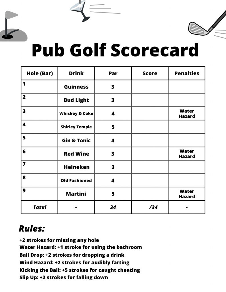 Pub Golf Scorecard